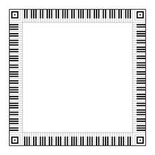 Musical Keyboard Square Frame, Made Of Connected Octave Patterns. Decorative Border, Constructed From Octaves, Black And White Keys Of Piano Keyboard, Shaped Into Repeated Motif. Illustration. Vector.