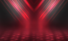Empty Background Scene. Dark Reflection Of The Street On The Wet Asphalt. Rays Of Red Neon Light In The Dark, Neon Figures, Smoke. Background Of Empty Stage Show. Abstract Dark Background.