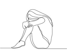 Continuous Line Drawings Of Young Woman Feeling Sad, Tired And Worried About Suffering From Depression In Mental Health. Problems, Failures And Concepts Of Heartbreak Isolated On White Background