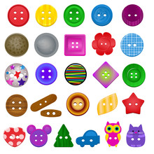 Sewing Button Vector Kids Fash...