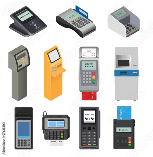 Canvas Print Payment machine vector pos banking terminal for credit card to pay atm bank syst
