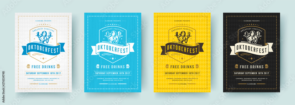 Fototapeta Oktoberfest flyers or posters retro typography vector templates design invitations beer fesival celebration.