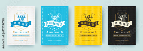 Oktoberfest flyers or posters retro typography vector templates design invitations beer fesival celebration.