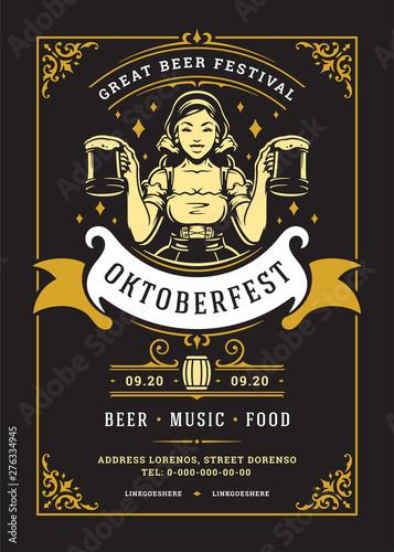 Oktoberfest flyer or poster retro typography template design willkommen zum beer fesival celebration vector illustration