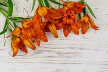 Orange Lilies On A White Woode...
