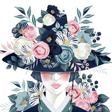 "Vector Illustration Of A Beautiful Girl Wearing A ""Gat"", Korean Traditional Hat Decorating With Flowers. Design For Banner, Poster, Card, Invitation And Scrapbook"