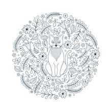 Pattern With Cat And Flowers