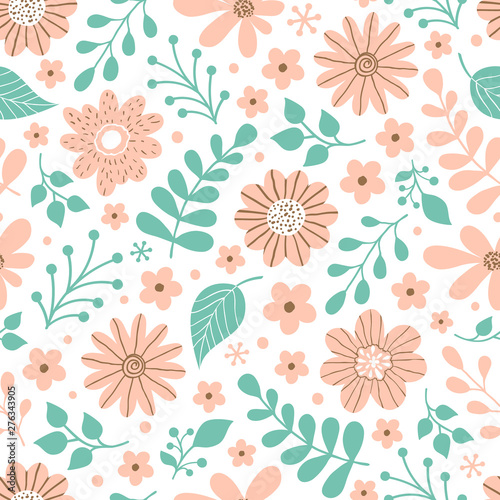 pattern with flowers and leaves - 276343905