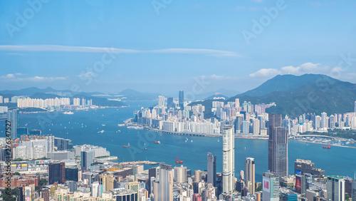 Fototapeta High view of Hong Kong skyline cityscape 2 obraz na płótnie