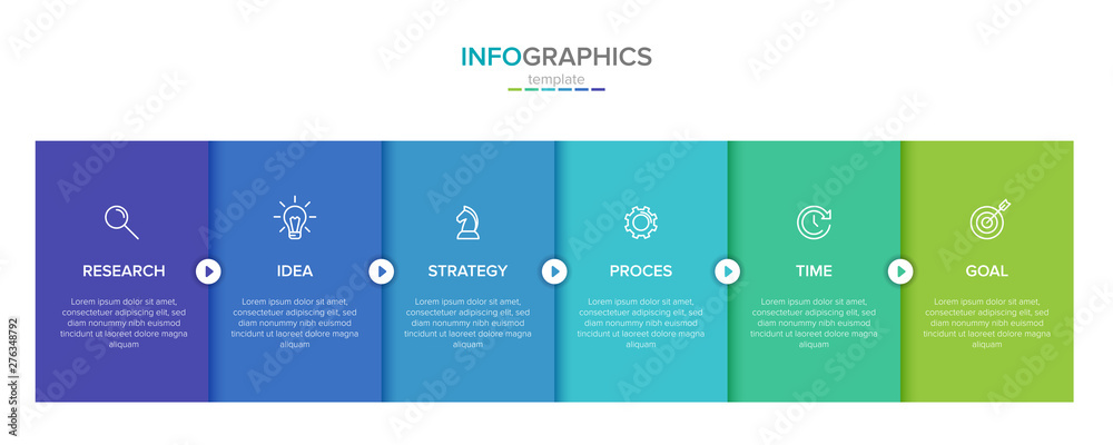 Fototapety, obrazy: Vector infographic label template with icons. 6 options or steps. Infographics for business concept. Can be used for info graphics, flow charts, presentations, web sites, banners, printed materials.