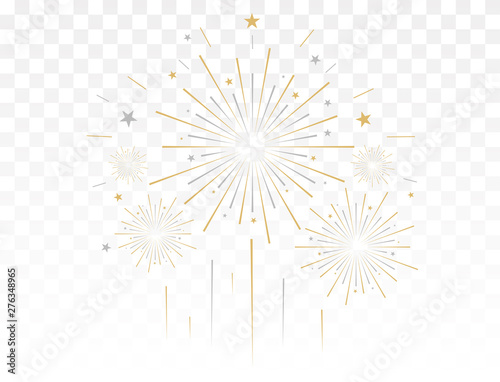 Fotografía Gold fireworks vector illustration