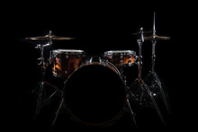 Drum Set On A Stage At Dark Ba...