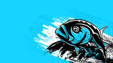 Permit Fish Logo. Permit Fish Fishing Emblem For Sport Club. Angry Fishing Background Theme Vector Illustration. Water Splash. Grunge Background. Paint Stains.