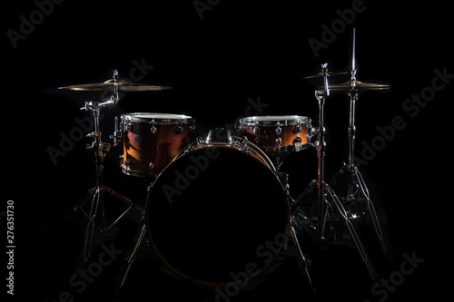 Drum Set On A Stage At Dark Background. Musical Drums Kit On Stage. - 276351730