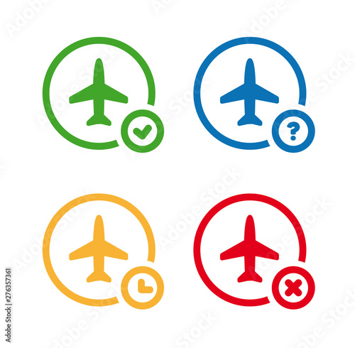 Obraz Flight status icons. Airport information symbol set. On time, unknown, delayed, cancelled. - fototapety do salonu