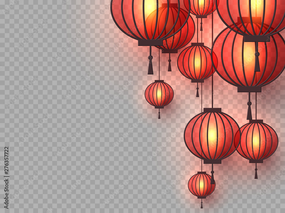 Fototapeta 3d Chinese hanging lanterns with glowing lights. Decorative paper cut elements for Chinese New Year, festivals or holiday background. Isolated on transparent. Vector illustration.