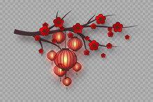3d Cherry Branch With Red Flowers And Hanging Lanterns. Decorative Blossom Elements For Chinese New Year, Festivals Or Holiday Background. Isolated On Transparent. Vector Illustration.