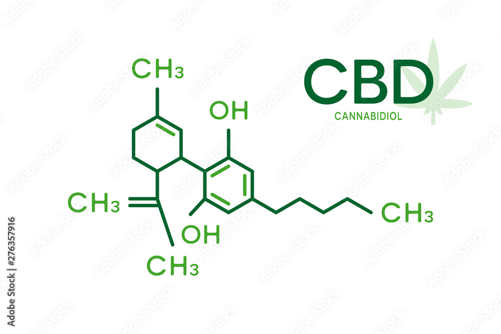 Fototapeta CBD molecular formula. Cannabidiol molecule structure on white background.