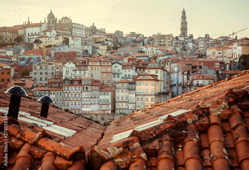 Fotografie, Obraz  Red tile roofs over historical city center of Porto city, Portugal