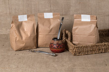 Packs For Yerba Made Of Kraft Paper. Mate Recipient With Tube For Sipping. Blank Space For Logo Or Name Mockup.