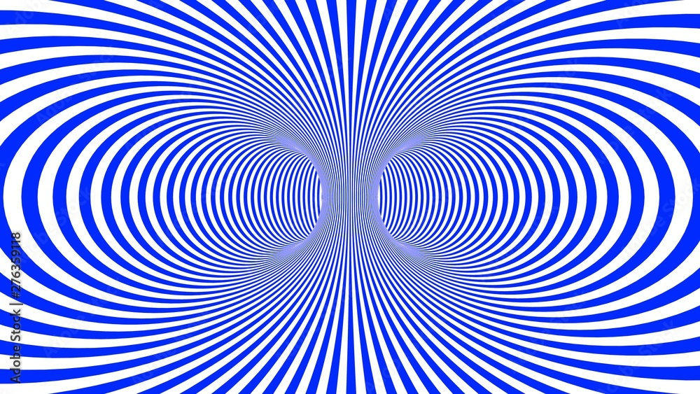 Fototapeta Hypnotic psychedelic illusion background with blue stripes.