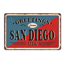 San Diego City Vintage Poster Vector. Vintage Tin Sign With USA City.