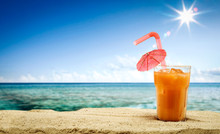 Summer Drink On Beach And Sea ...
