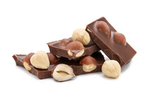 Chocolate With Hazelnuts Isolated On White Background