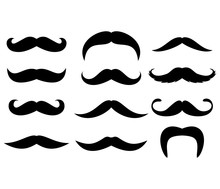 Big Set Of Mustaches Silhouettes. Collection Of Men's Mustaches. Vector Illustration.