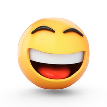 3D Rendering Happy Emoji Isolated On White Background