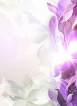 Dim Purple Light Background With Abstract Leaf And Flower Silhouettes