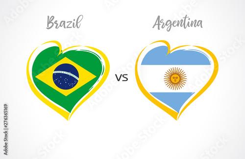 Fotografía Brazil vs Argentina, national team flags on white background