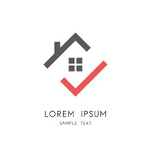 Home And Check Mark Logo - House Roof With Chimney And Window And Red Tick Symbol. Real Estate And Realty Vector Icon.