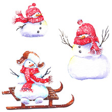 Set Of Cute Snowmen Wearing Red Knitted Scarves And Hats. Watercolor Illustration Isolated On White Background.