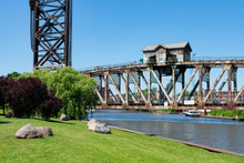 Railroad Bridge Over The Chicago River Seen From Ping Tom Memorial Park In Chinatown Chicago