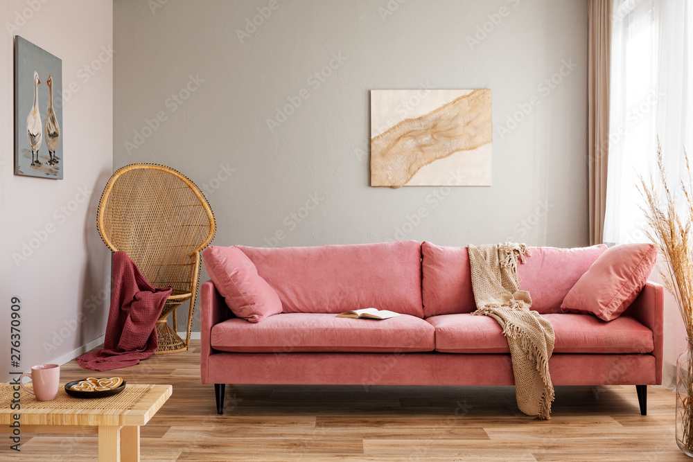 Fototapety, obrazy: Wicker peacock chair with red blanket behind pink velvet couch
