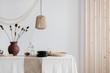 Leinwanddruck Bild - Bright natural decoration  of dining room interior
