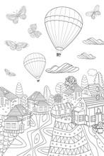 Fancy Cityscape With Flying Bu...