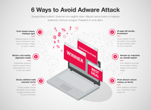 Simple Infographic For 6 Ways To Avoid Adware Attack Template, Isolated On Light Background. Easy To Use For Your Website Or Presentation..