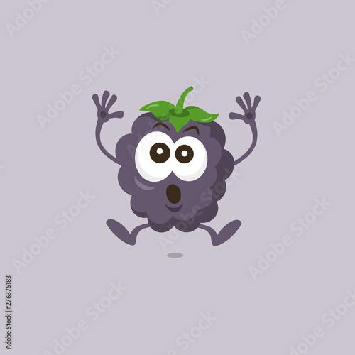 Valokuvatapetti Illustration of cute dewberry scared mascot isolated on light background