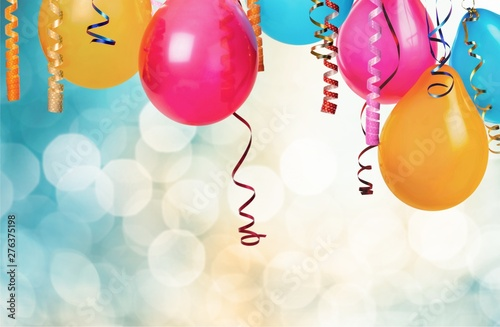 Poster Personal Bunch of colorful balloons on bokeh background