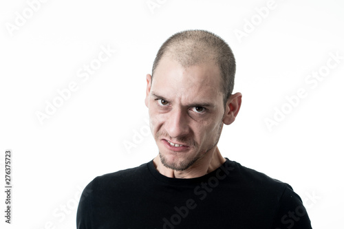Fototapety, obrazy: Mad and aggressive guy in facial expressions and negative human emotions