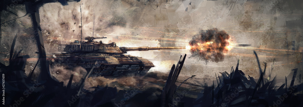 Fototapeta The tank is in battle, firing at the enemy. (Concept Art, Digital Paint)