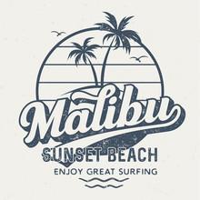 Malibu Sunset Beach - Vintage Tee Design For Printing