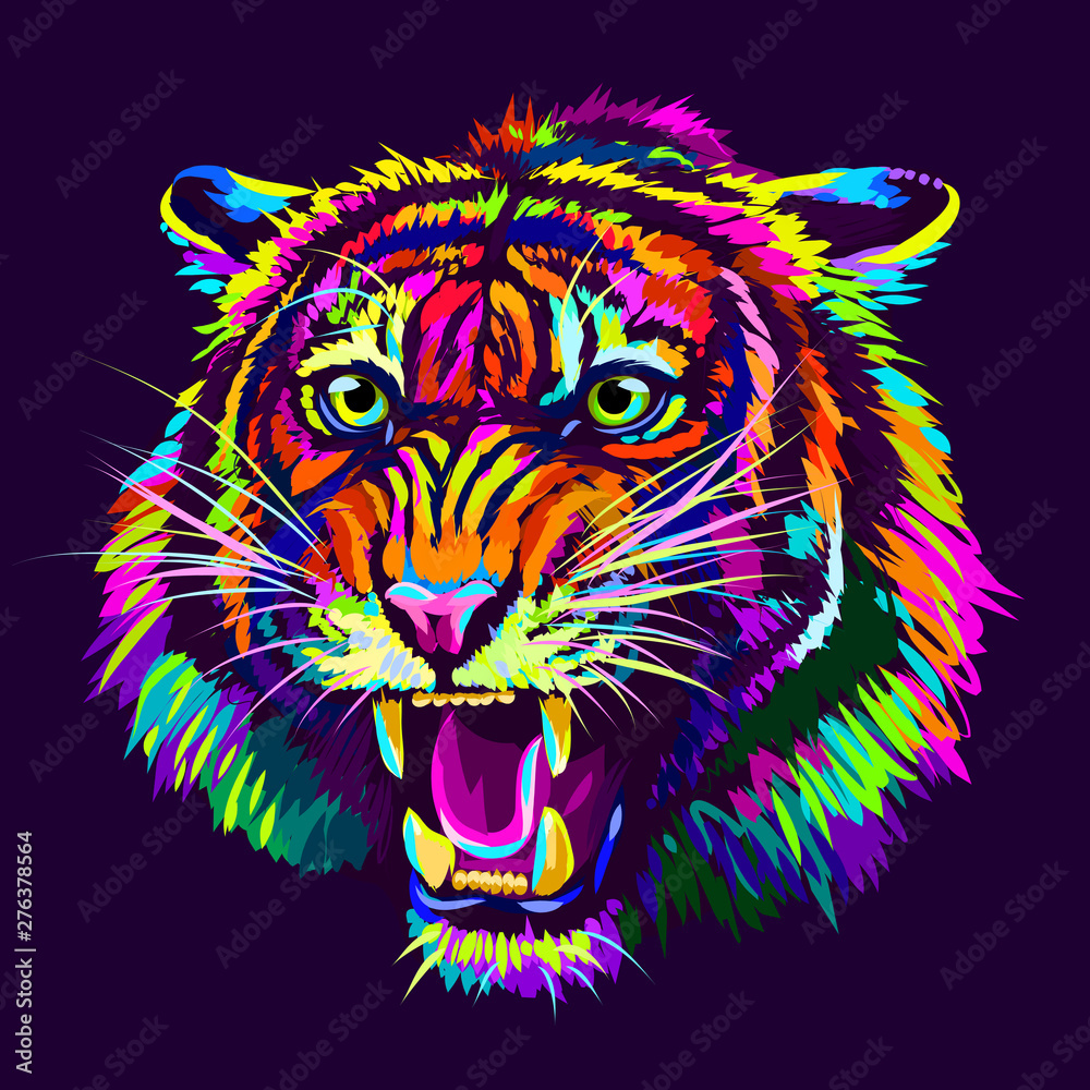 Fototapeta Growling Tiger. Abstract, multicolored portrait of a snarling neon tiger on a dark purple background.