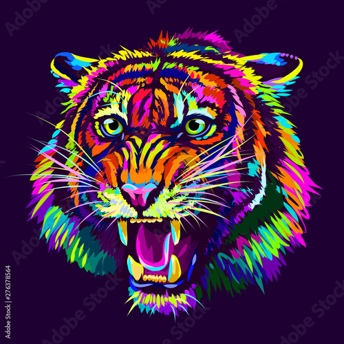 Growling Tiger. Abstract, multicolored portrait of a snarling neon tiger on a dark purple background. Fotomurales