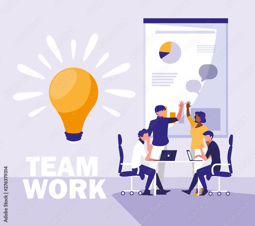 Fototapeta business people teamwork in the workplace