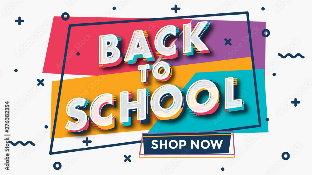 Fototapeta Back to school - colorful typographic sale design template