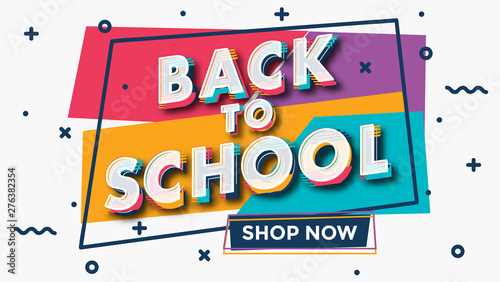 Pinturas sobre lienzo  Back to school - colorful typographic sale design template