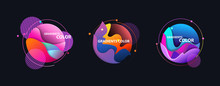 Round Multicolored Abstract Elements Set On Black Backdrop. Dynamical Colored Forms And Lines. Flowing Liquid Shapes Banners. Template For Design Of Logo, Flyer, Presentation, Vector Illustration